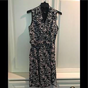 Sleeveless A line black/white midi dress size 8
